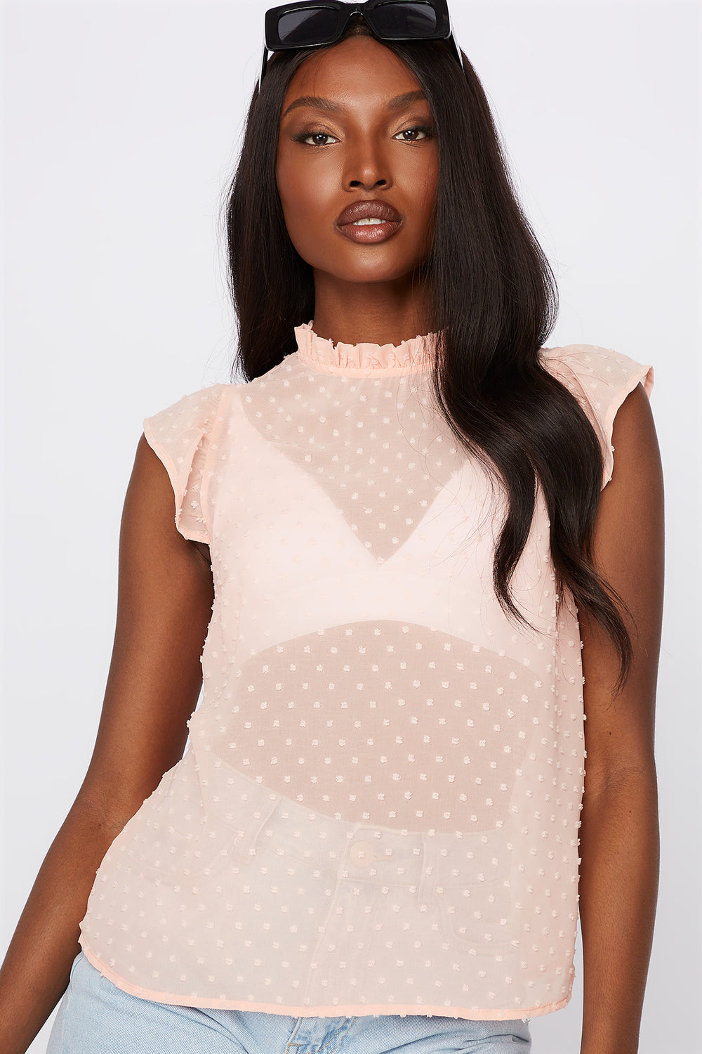 Dotted High Neck Cap Sleeve Blouse Peach