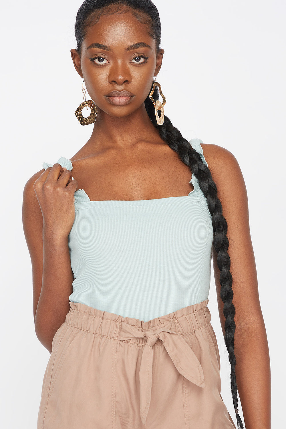 Ribbed Ruffle Sleeve Tank Light Blue