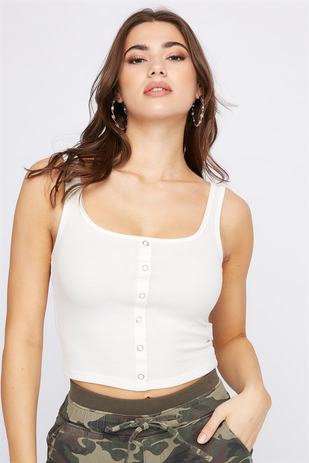 Ribbed Faux Button-Up Cropped Tank Cream