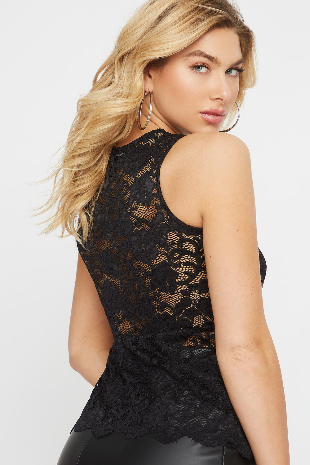 Lace Sleeveless Blouse Black