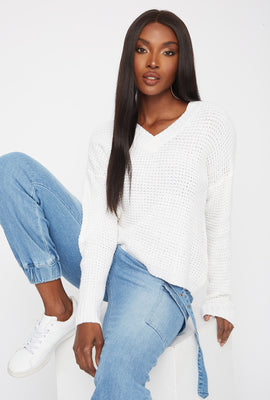 Boxy V-Neck Cropped Sweater