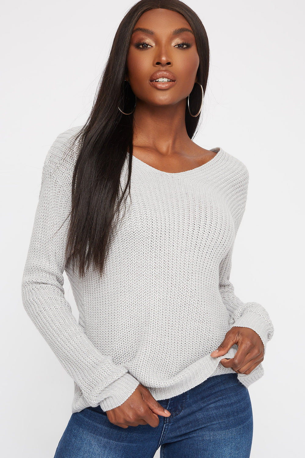 V-Neck Twist Back Sweater Heather Grey