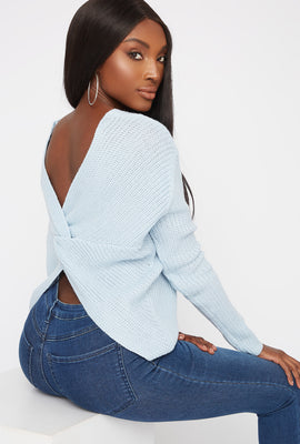 V-Neck Twist Back Sweater