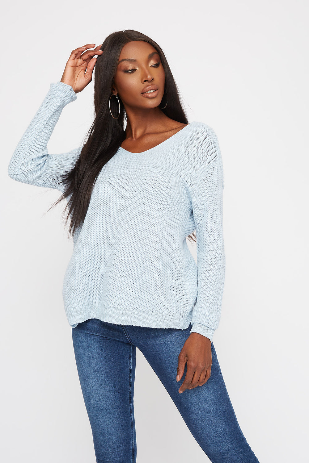 V-Neck Twist Back Sweater Baby Blue