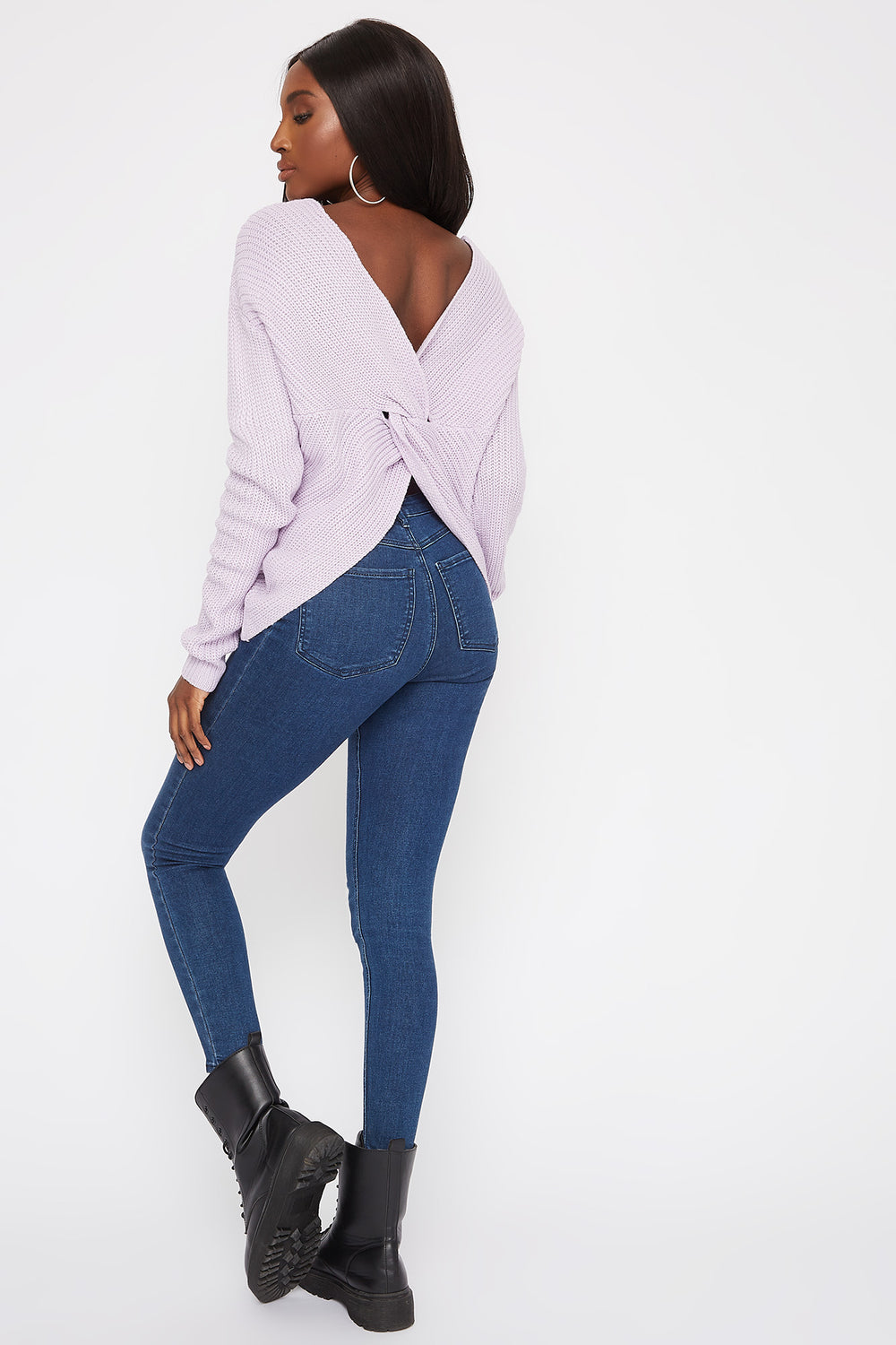 V-Neck Twist Back Sweater Lilac