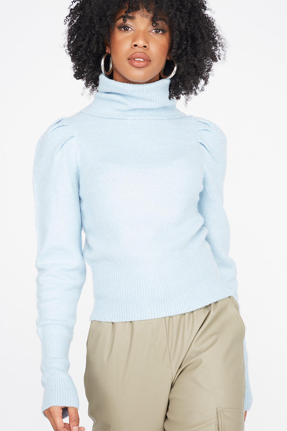 Comfortable and Soft Sweater Puff Sleeve Shirt Soft Blouse in Cotton and Viscose Jersey Turtleneck Puff Sleeves