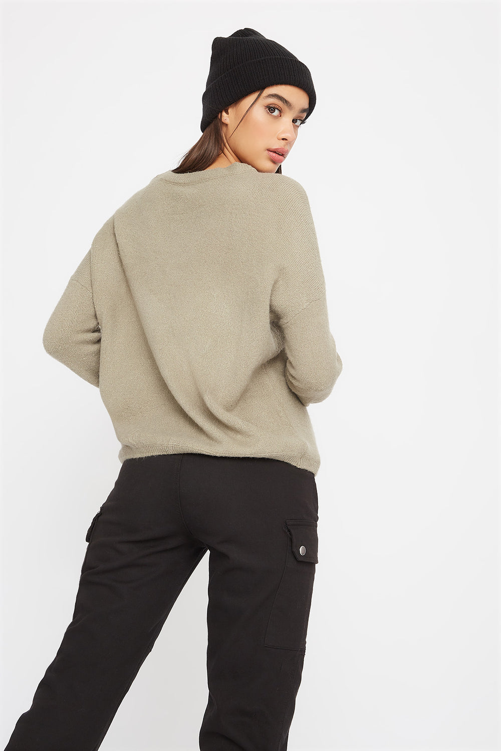 Mossy Crew Neck Sweater Dark Green