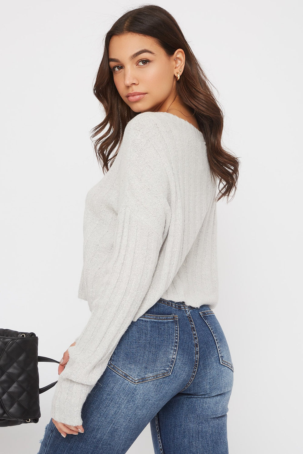 Ribbed Boxy Sweater Heather Grey
