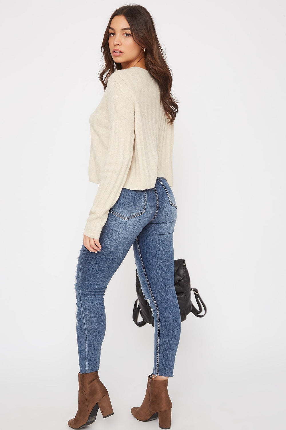 Ribbed Boxy Sweater Oatmeal