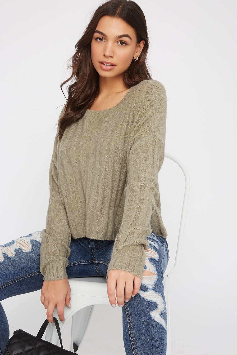 Ribbed Boxy Sweater Dark Green