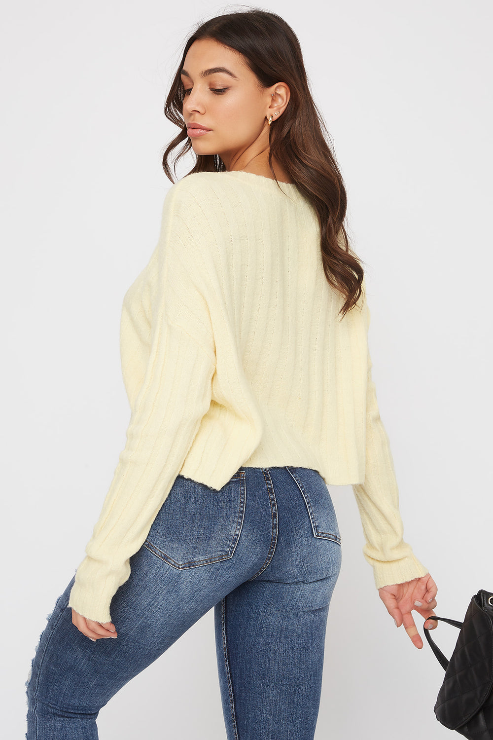 Ribbed Boxy Sweater Pale Yellow