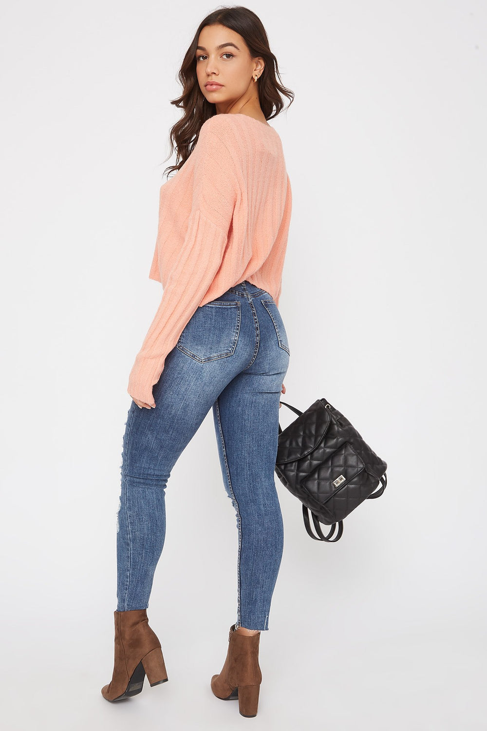 Ribbed Boxy Sweater Coral
