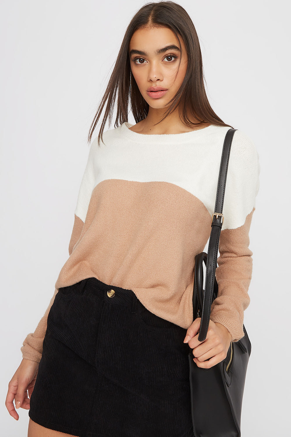 Colour Block Mossy Sweater Tan