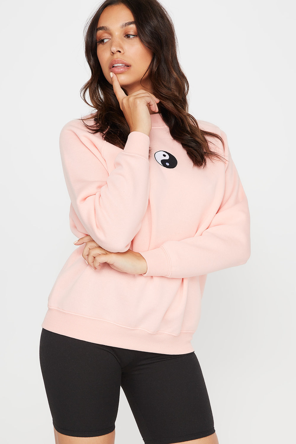 Embroidered Yin-Yang Graphic Crew Neck Sweater Coral