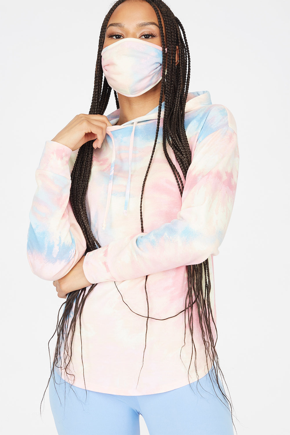 2-Piece Soft Fleece Multi Tie Dye Hoodie With Washable & Reusable Protective Face Mask Set Multi