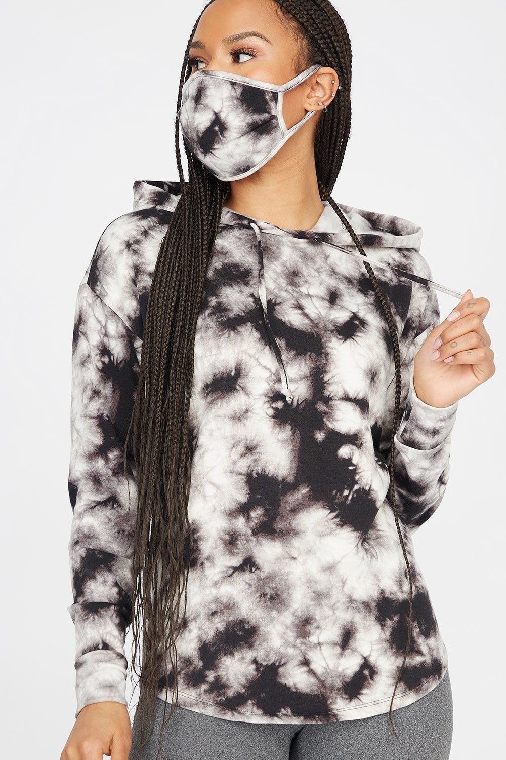 2-Piece Soft Fleece Black and White Tie Dye Hoodie With Washable & Reusable Protective Face Mask Set Black with White