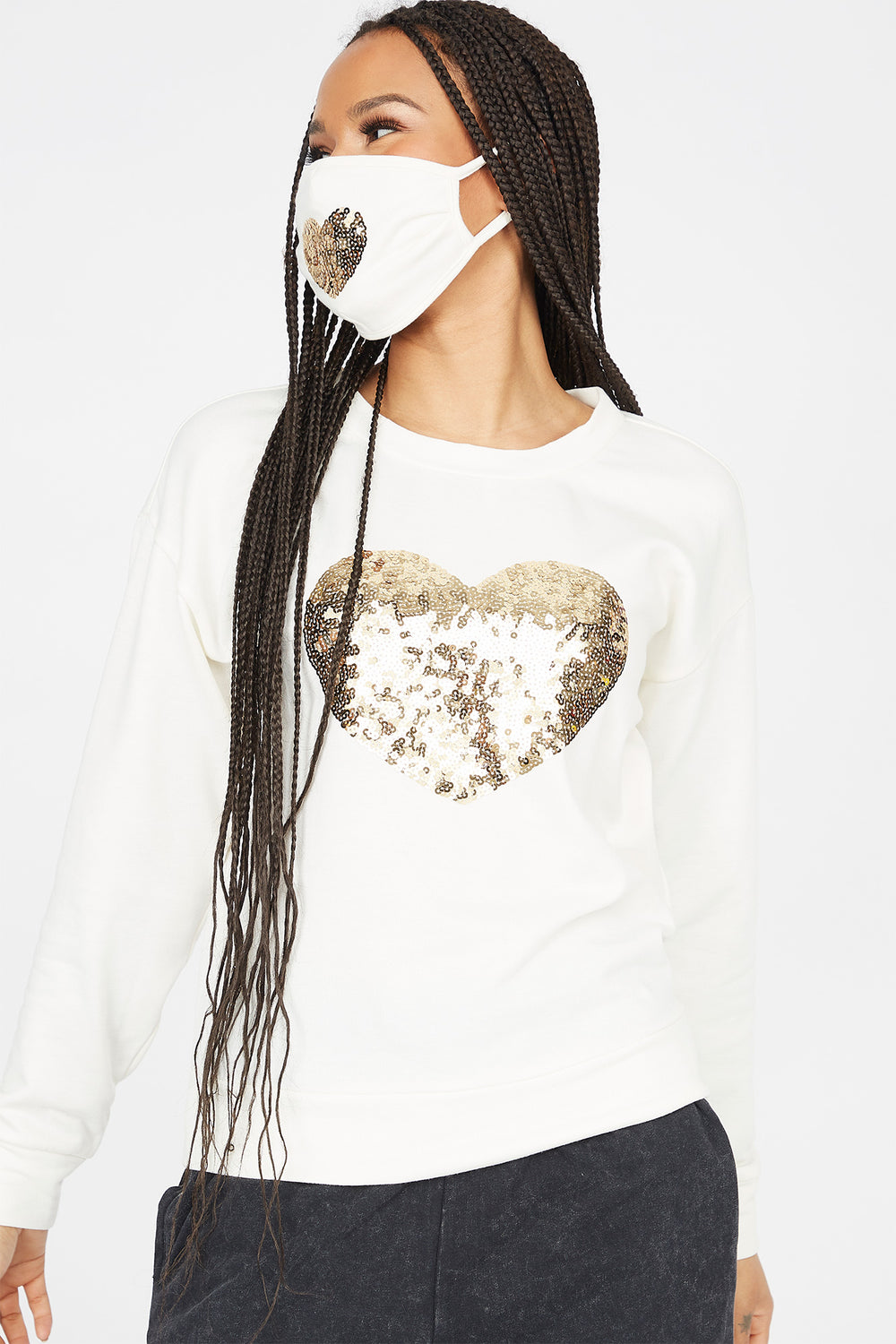 2-Piece Soft Fleece Crew Neck Sequin Heart Long Sleeve Top With Washable & Reusable Protective Face Mask Set Ivory