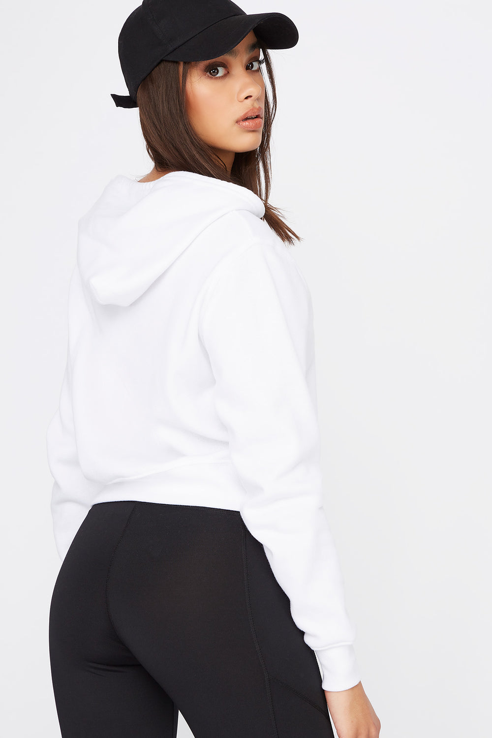Perfect Crop Hoodie White
