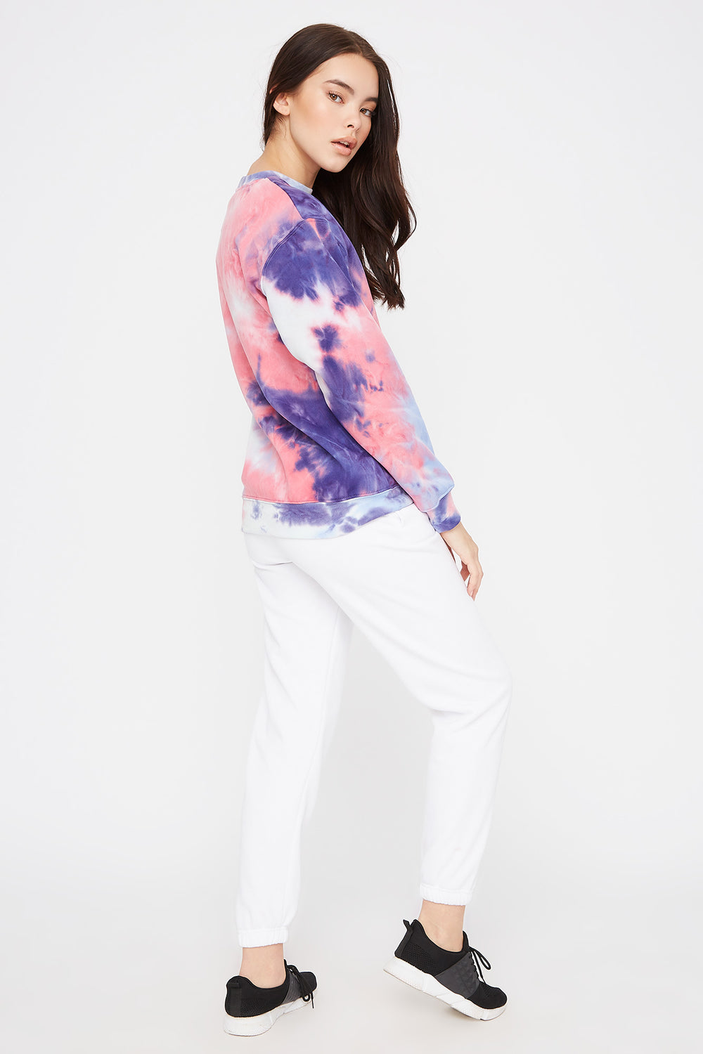 Tie Dye Boyfriend Crew Neck Sweater Blue