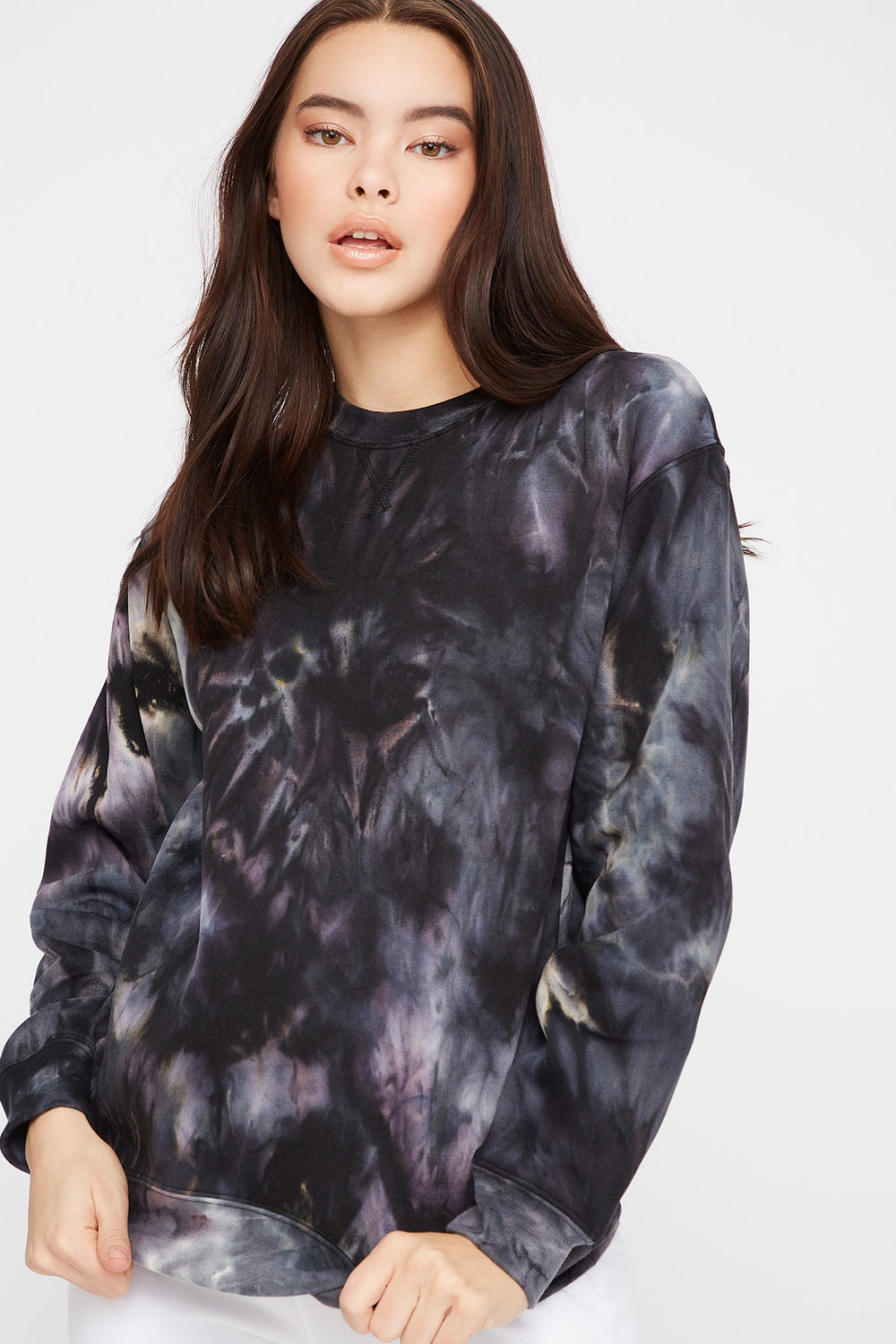 Tie Dye Boyfriend Crew Neck Sweater Black with White