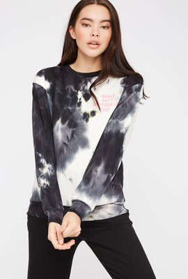 Graphic Tie Dye Boyfriend Crew Neck Sweater
