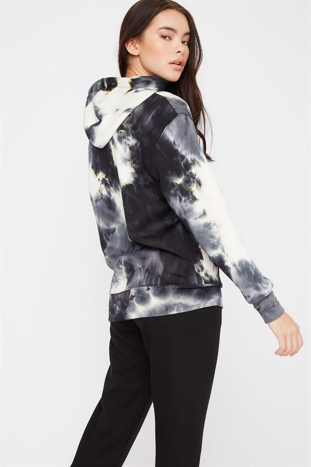 Graphic Tie Dye Boyfriend Hoodie Black with White