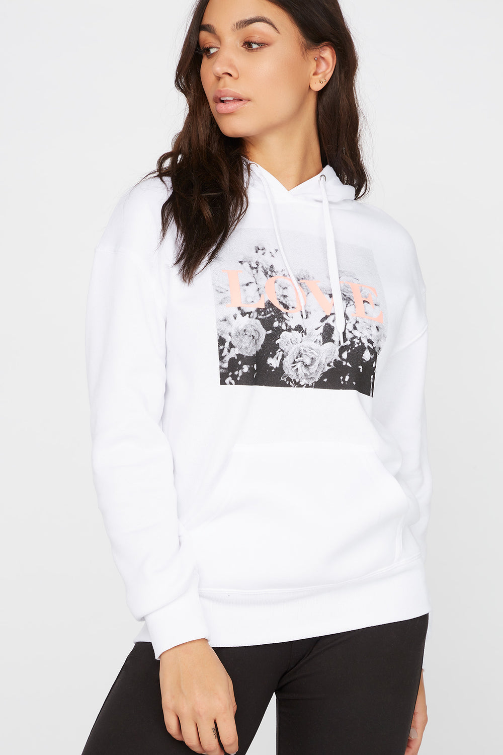 Fleece Graphic Boyfriend Hoodie White