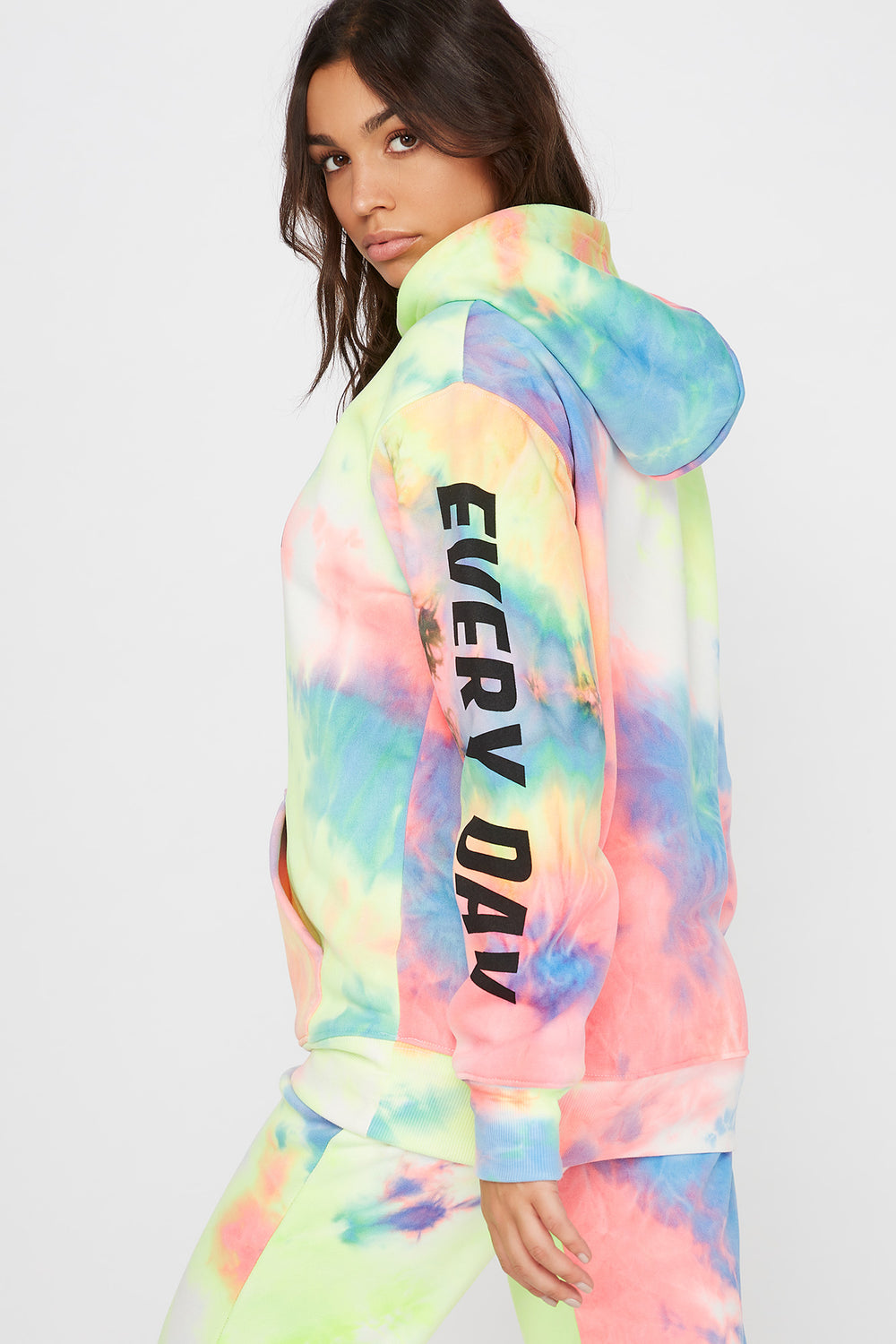 Fleece Tie Dye Graphic Hoodie Multi