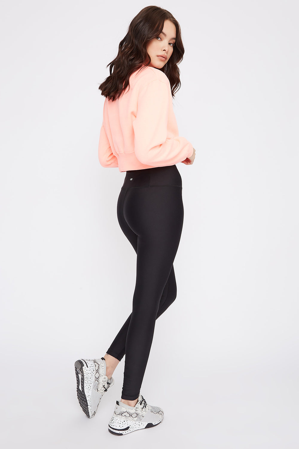 Cropped Crew Neck Sweater Neon Pink