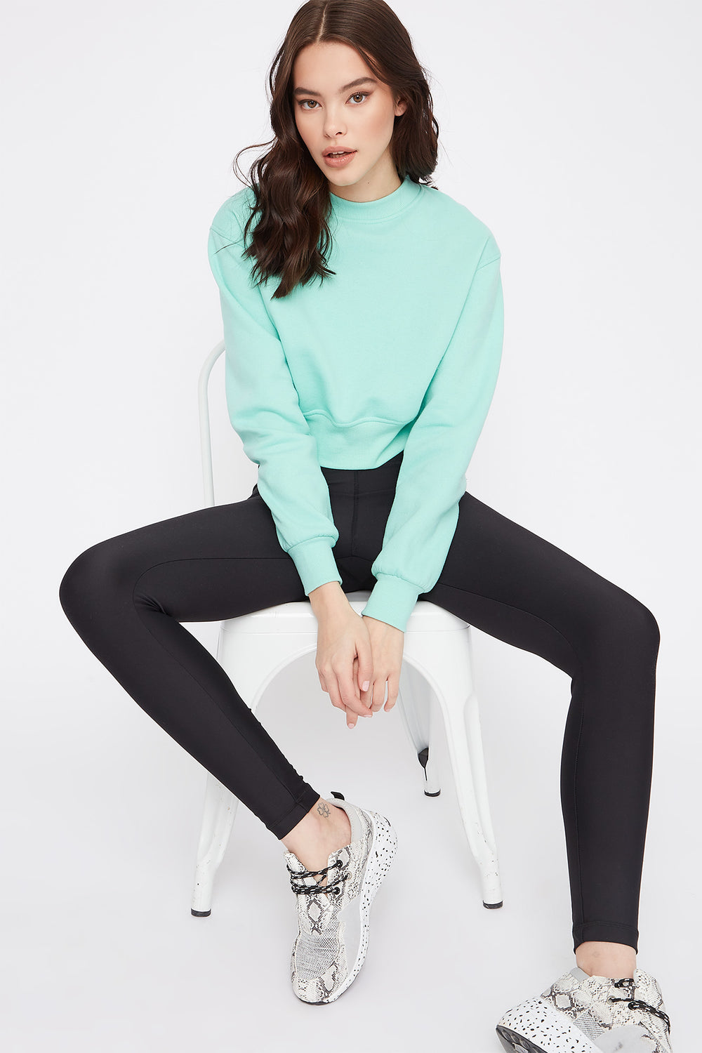 Cropped Crew Neck Sweater Light Blue