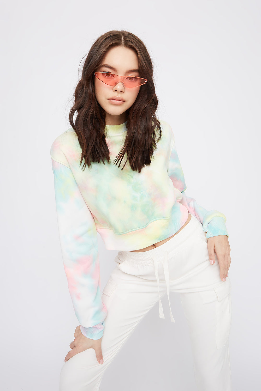 Tie Dye Cropped Crew Neck Sweater Multi