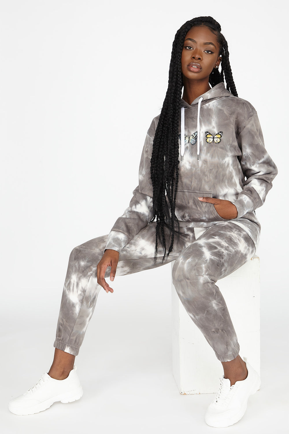 Best Ever Fleece Tie Dye Graphic Hoodie Light Grey
