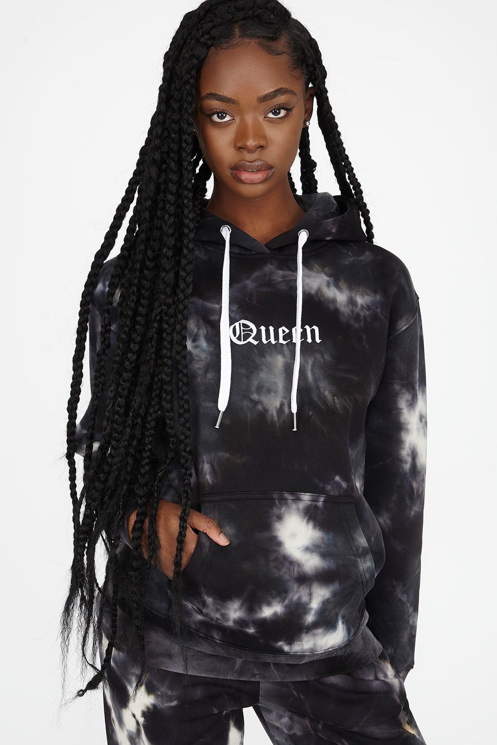 Best Ever Fleece Tie Dye Graphic Queen Hoodie Black with White