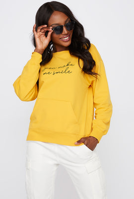 Graphic You Make Me Smile Crew Neck Sweater