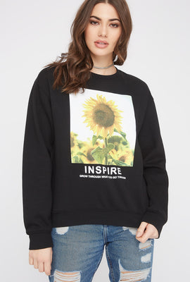 Sunflower Photo Box Boyfriend Crew Neck Sweater