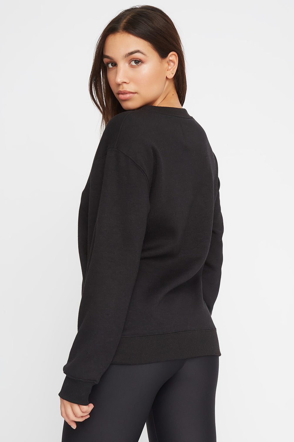 Soft Boyfriend Crewneck Sweater Black