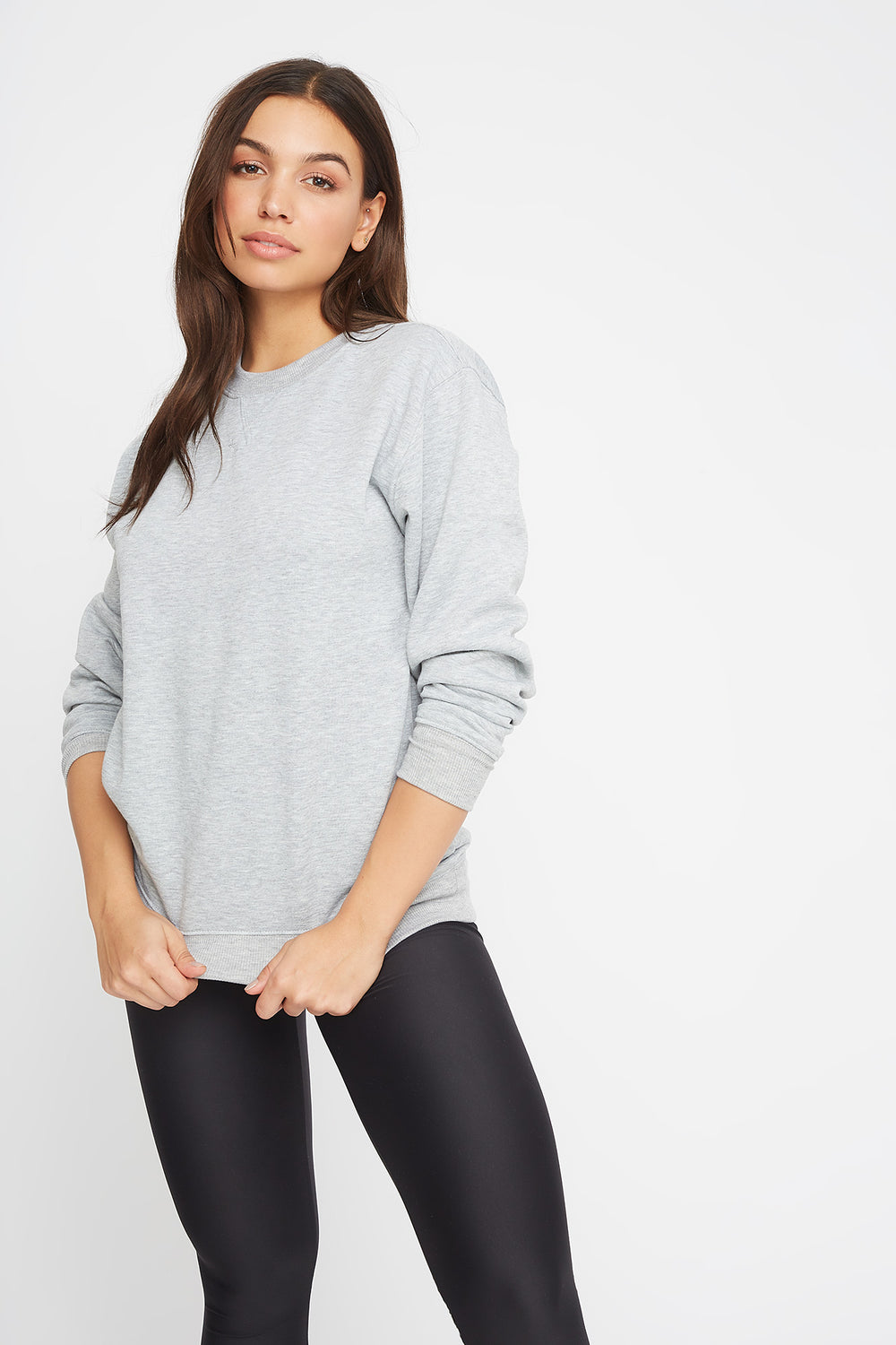Soft Boyfriend Crewneck Sweater Heather Grey