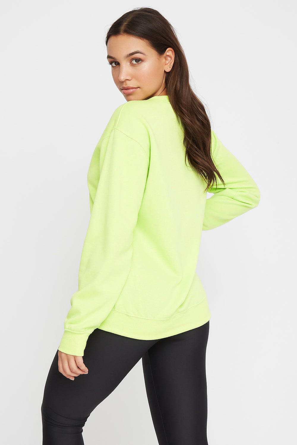 Soft Boyfriend Crewneck Sweater Neon Green