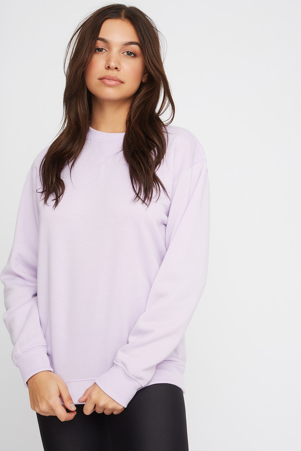 Soft Boyfriend Crewneck Sweater Lilac