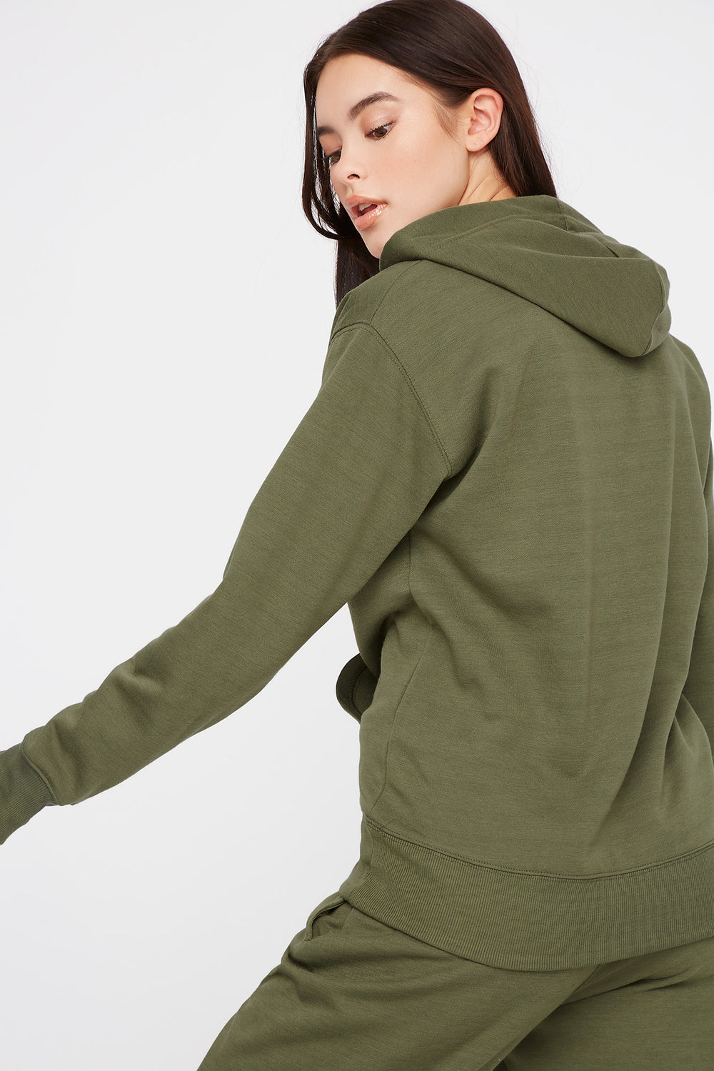 Fleece Boyfriend Hoodie Dark Green