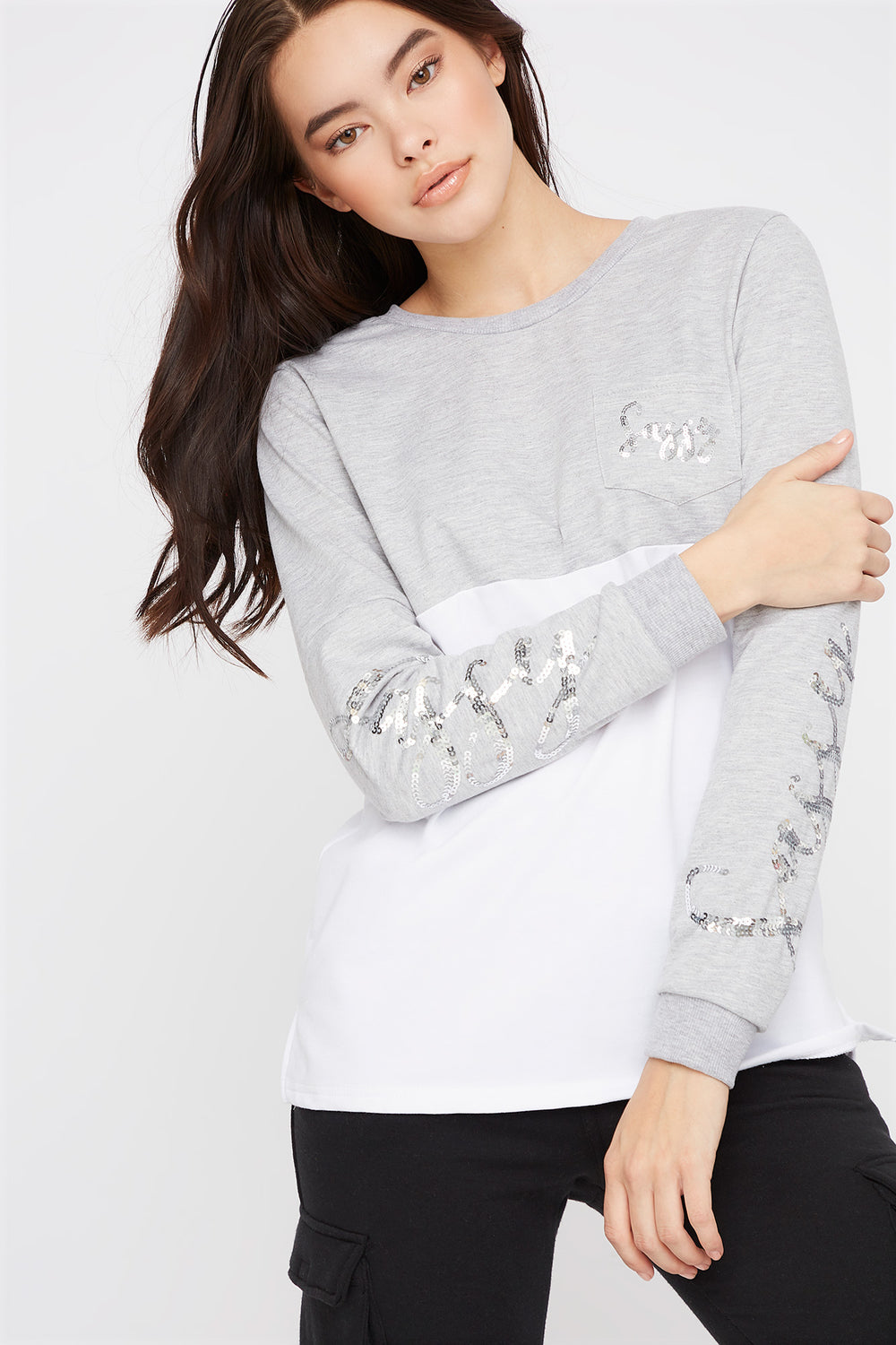 Graphic Sequin Crew Neck Sweater Heather Grey
