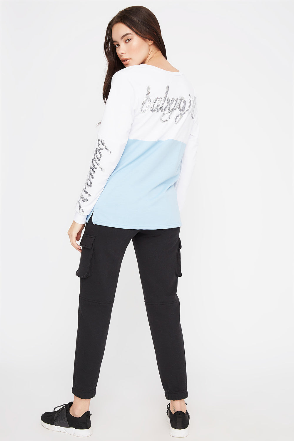 Graphic Sequin Crew Neck Sweater Light Blue