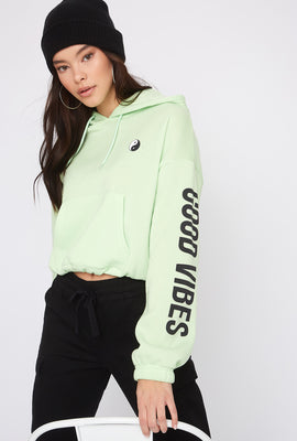 Fleece Graphic Cropped Hoodie