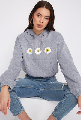 Graphic Fleece Cropped Hoodie