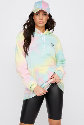 Graphic Tie Dye Smiley Face Hoodie