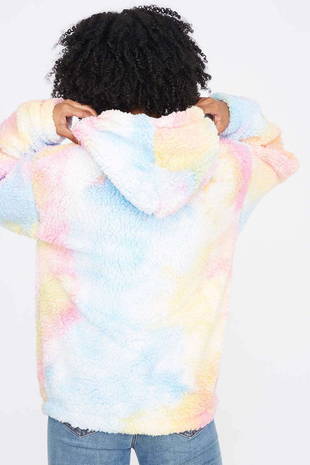 Faux-Fur Sherpa Yellow and Pink Tie-Dye Popover Hoodie Multi