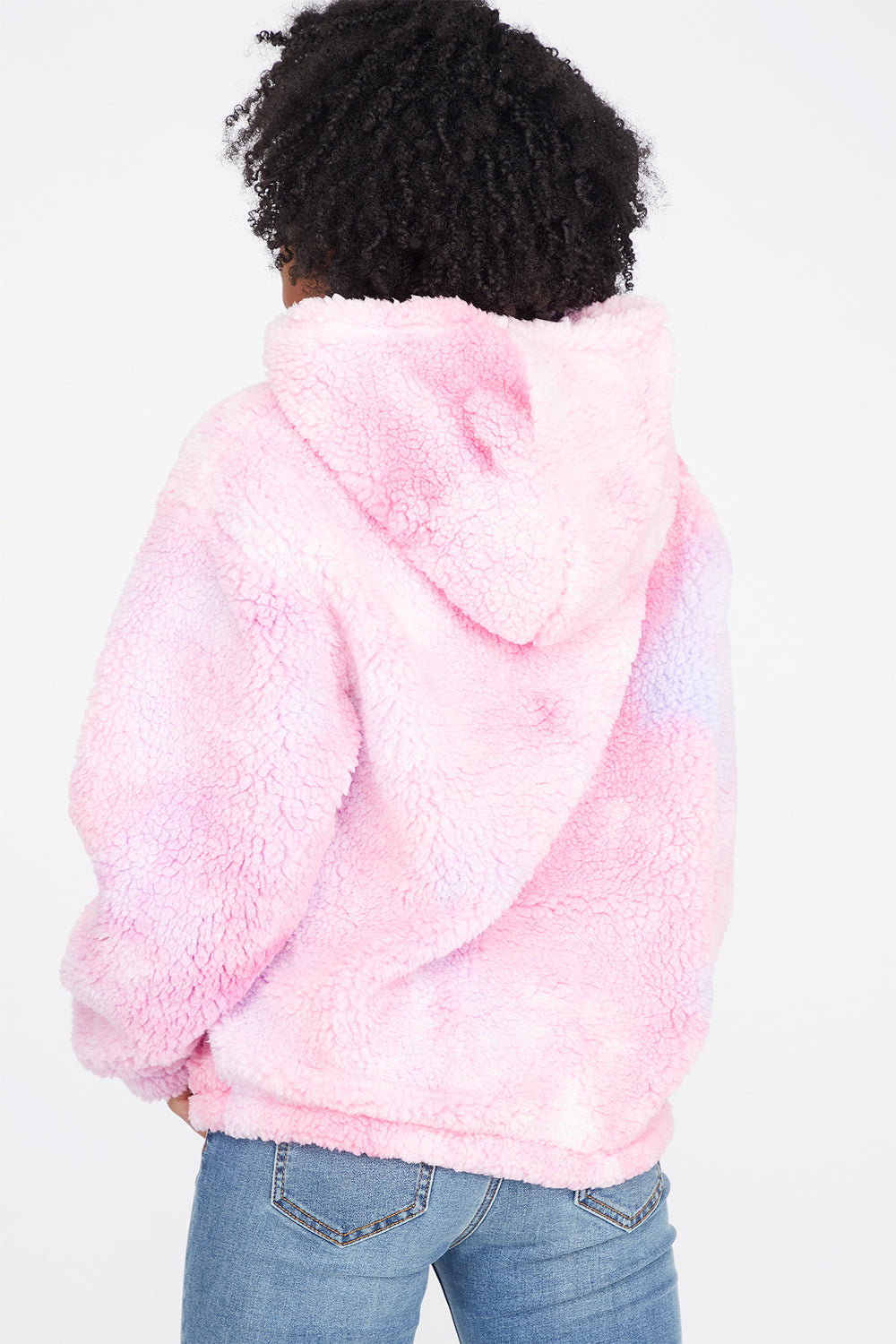 Faux-Fur Sherpa Pink and Purple Tie-Dye Popover Hoodie Purple
