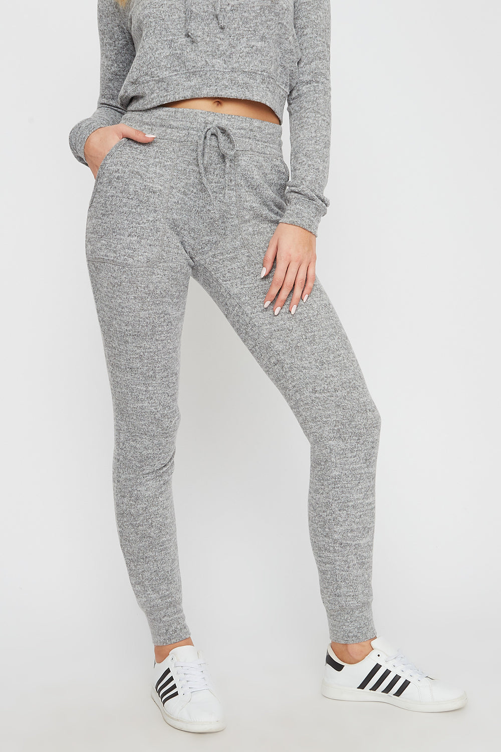 Super Soft Brushed Pocket Jogger Heather Grey