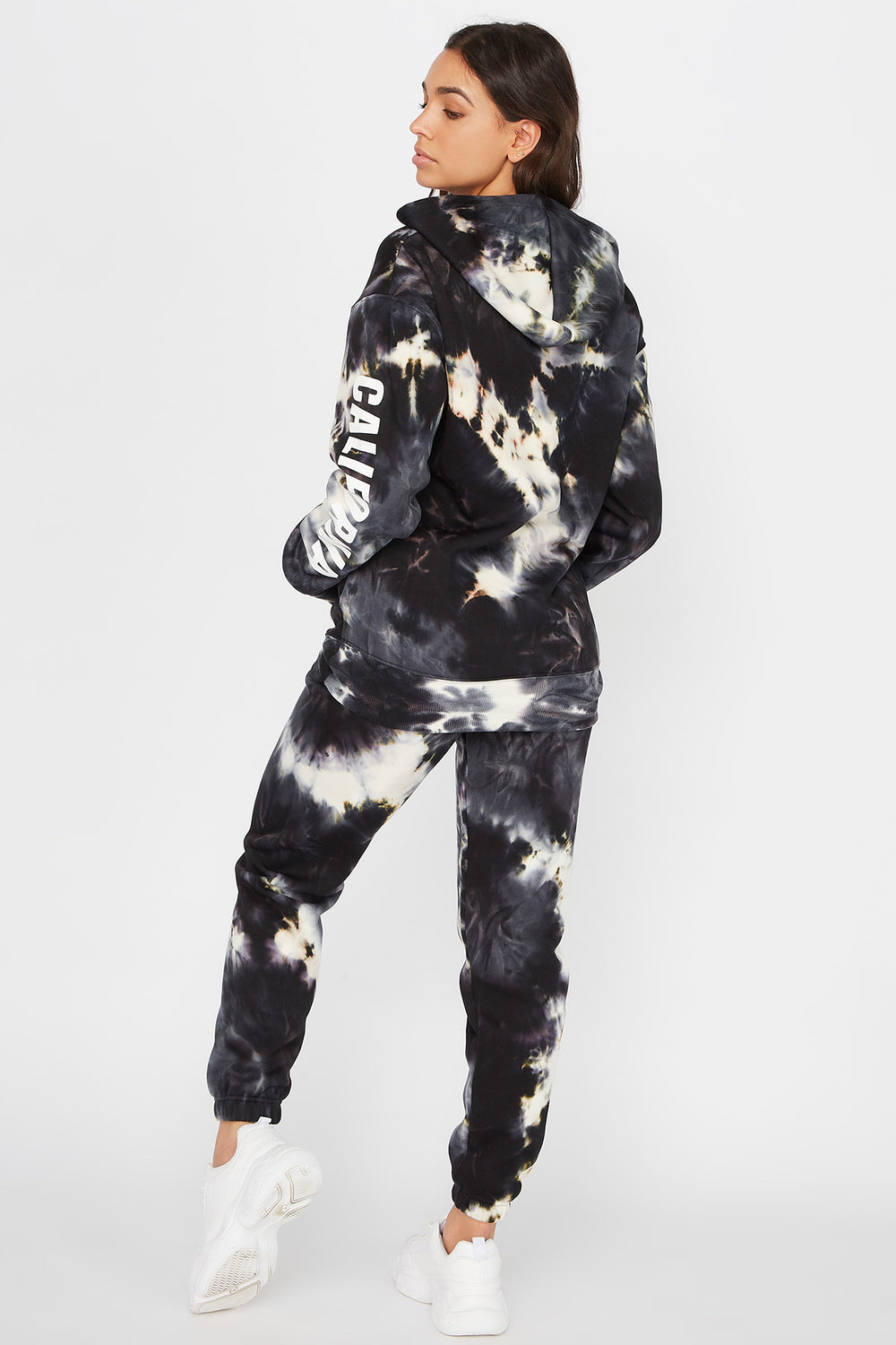Fleece Tie Dye Jogger Black with White