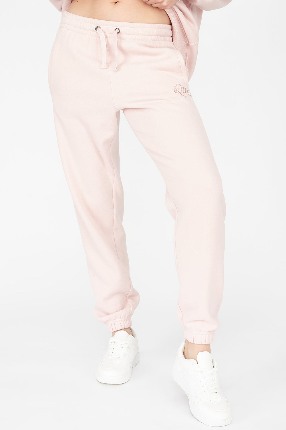 Fleece Boyfriend Embroidered Queen Graphic Jogger Light Pink